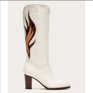 New Frye White June Flame Tall Leather Boot Sz 8